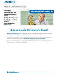 Metlife Universitario PLUS