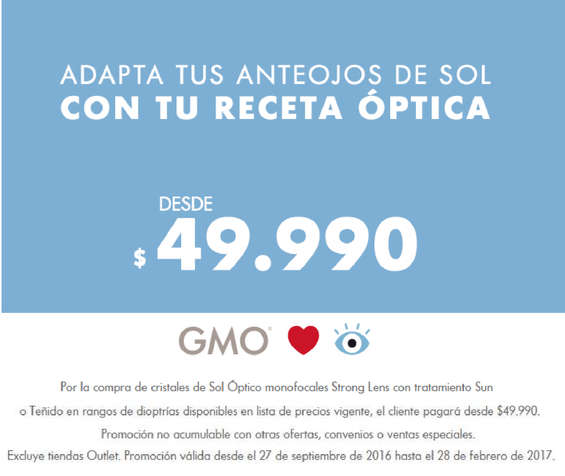 Ofertas de GMO, adapta tus anteojos de sol