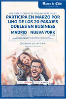 Ofertas de Banco de Chile, promo 20 pasajes