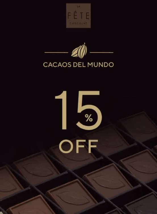 Ofertas de La Fête Chocolat, Cacaos del mundo con el 15% dcto.