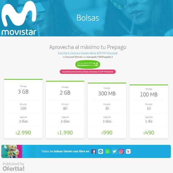Ofertas de Movistar, Bolsas Prepago