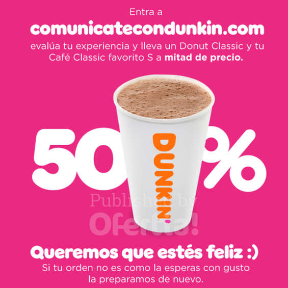 Ofertas de Dunkin Donuts, 50% de descuento